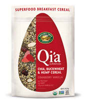 Qi'a™ Superfood - Chia, Buckwheat & Hemp Cereal - Cranberry Vanilla [npa-320074.jpg] - Click for More Information